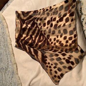 Vintage Valentino Oblong Silk scarf - sheer animal
